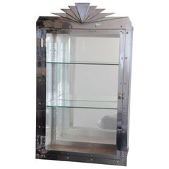 Art Deco Machine Age Odeon Style Vitrine / Display Cabinet Chrome REDUCED
