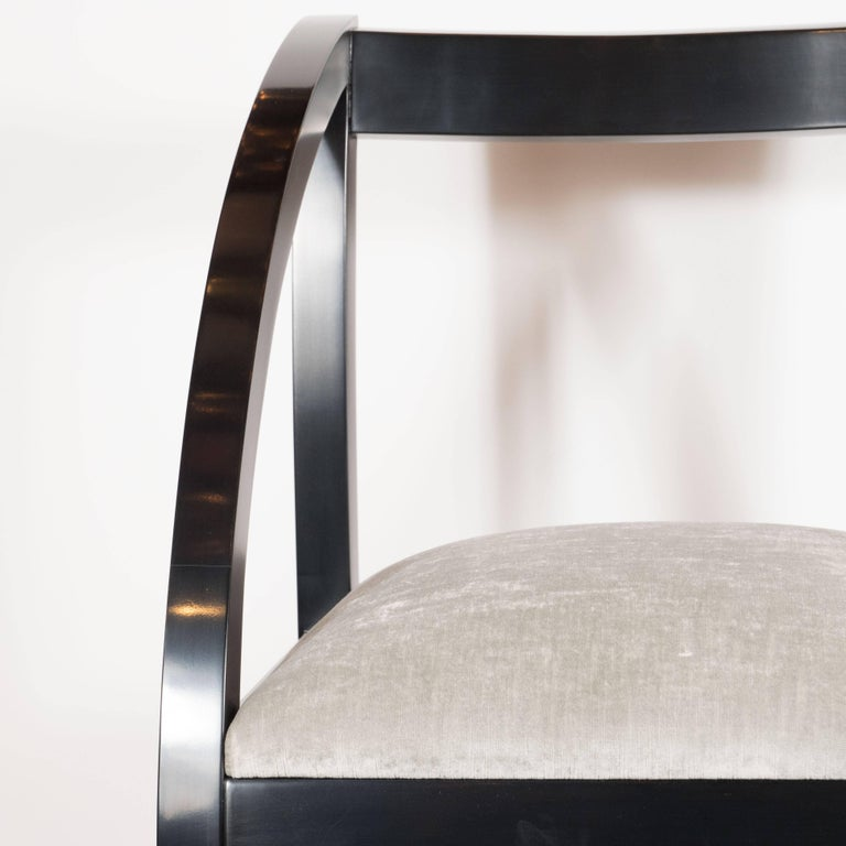 Ebonized Art Deco Machine Age Side Chair by the Modernage Co. in Black Lacquer & Velvet For Sale