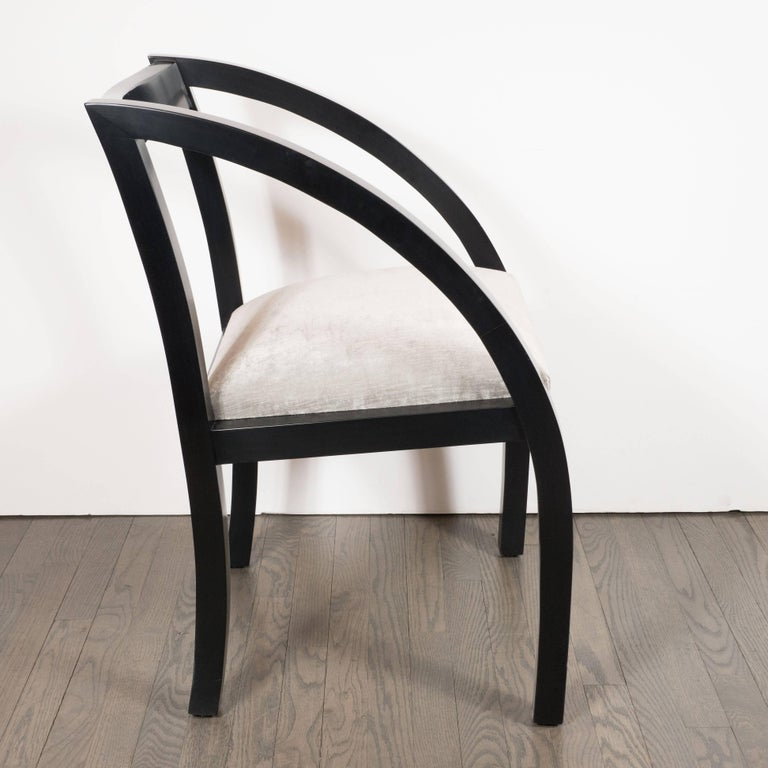 Mid-20th Century Art Deco Machine Age Side Chair by the Modernage Co. in Black Lacquer & Velvet For Sale