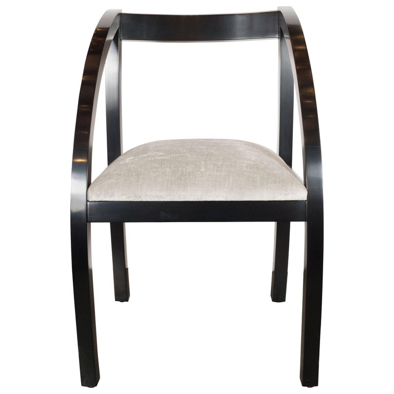 Art Deco Machine Age Side Chair by the Modernage Co. in Black Lacquer & Velvet For Sale