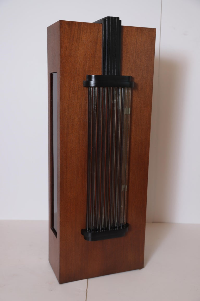 Art Deco Machine Age Skyscraper Lighted Stand with Glass Rods / Ebonized Details For Sale 5
