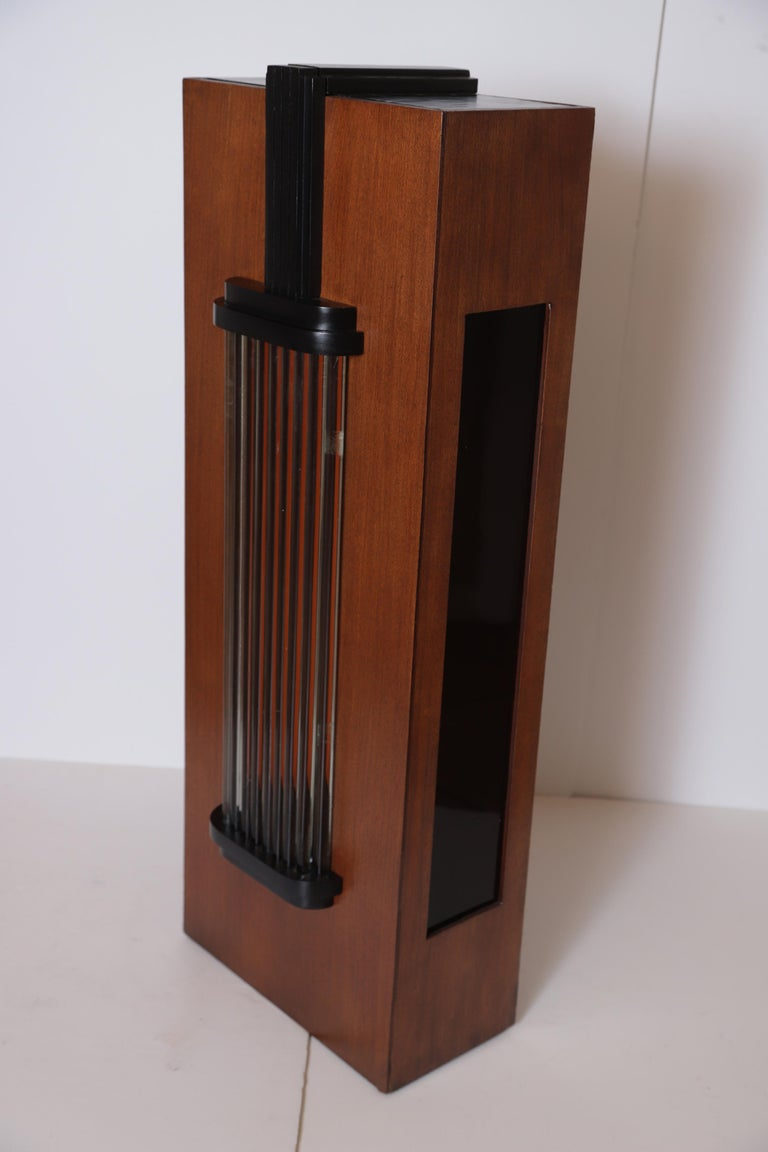 American Art Deco Machine Age Skyscraper Lighted Stand with Glass Rods / Ebonized Details For Sale