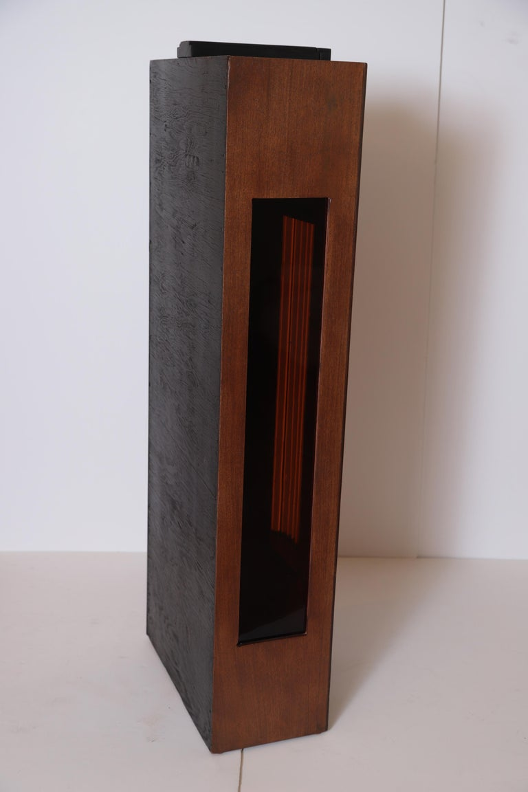 Lacquered Art Deco Machine Age Skyscraper Lighted Stand with Glass Rods / Ebonized Details For Sale