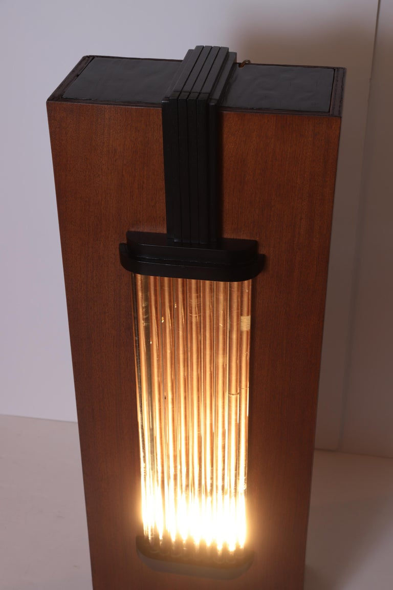 Art Deco Machine Age Skyscraper Lighted Stand with Glass Rods / Ebonized Details For Sale 1
