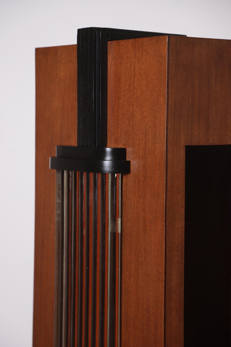 Art Deco Machine Age Skyscraper Lighted Stand with Glass Rods / Ebonized Details For Sale 2