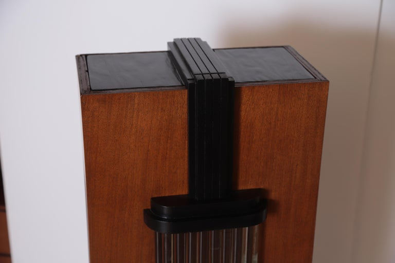 Art Deco Machine Age Skyscraper Lighted Stand with Glass Rods / Ebonized Details For Sale 3