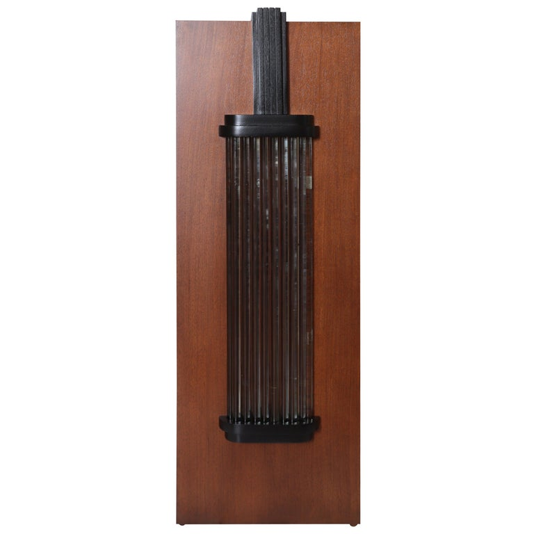 Art Deco Machine Age Skyscraper Lighted Stand with Glass Rods / Ebonized Details For Sale