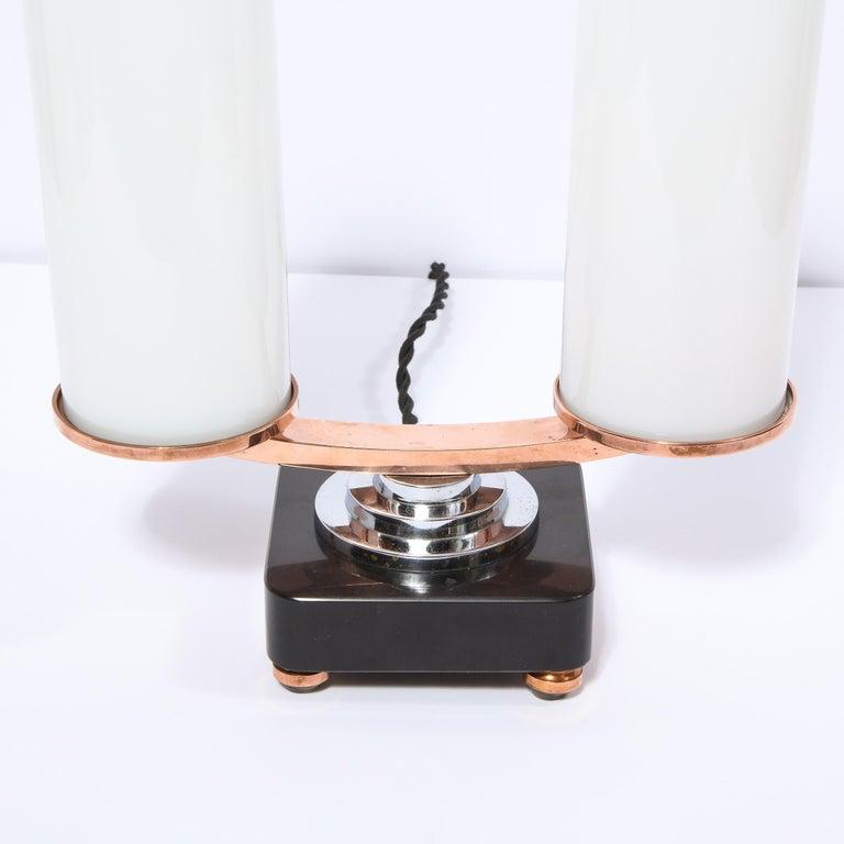 Art Deco Machine Age Skyscraper Style Chrome, Copper & Vitrolite Table Lamp In Excellent Condition For Sale In New York, NY