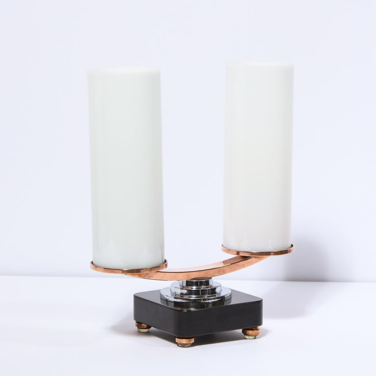 Mid-20th Century Art Deco Machine Age Skyscraper Style Chrome, Copper & Vitrolite Table Lamp For Sale