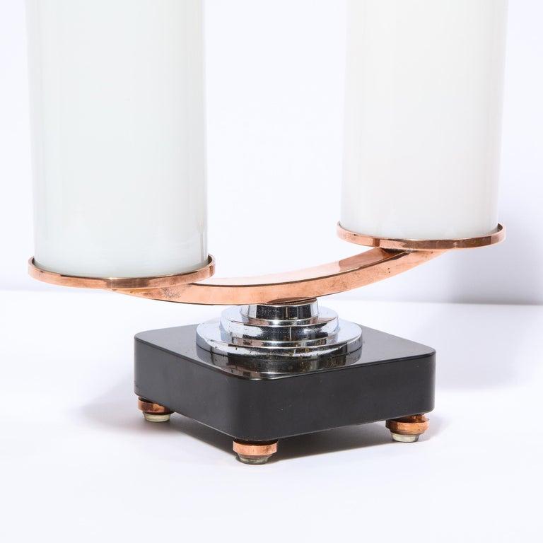 Art Deco Machine Age Skyscraper Style Chrome, Copper & Vitrolite Table Lamp For Sale 1