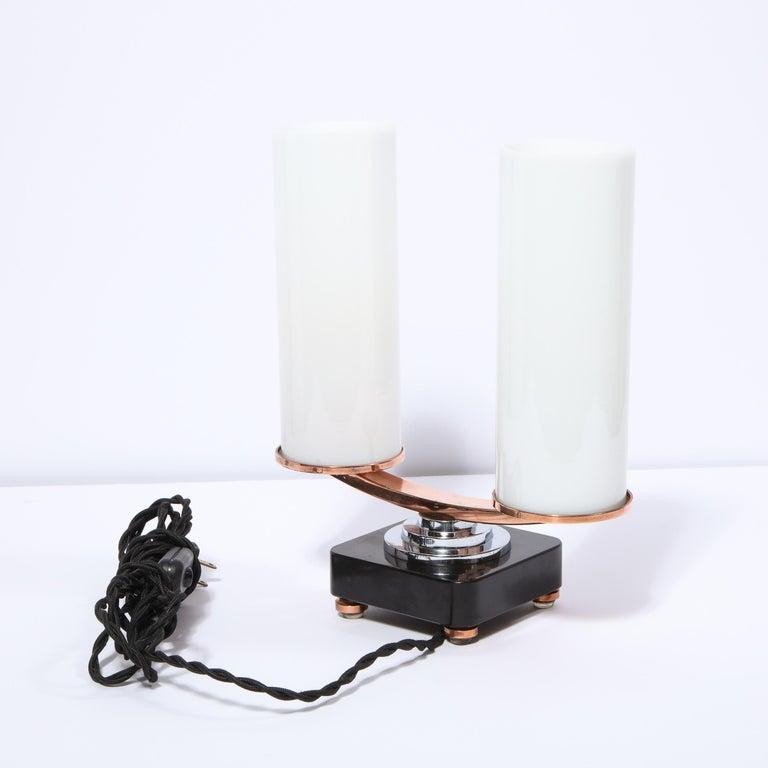 Art Deco Machine Age Skyscraper Style Chrome, Copper & Vitrolite Table Lamp For Sale 3
