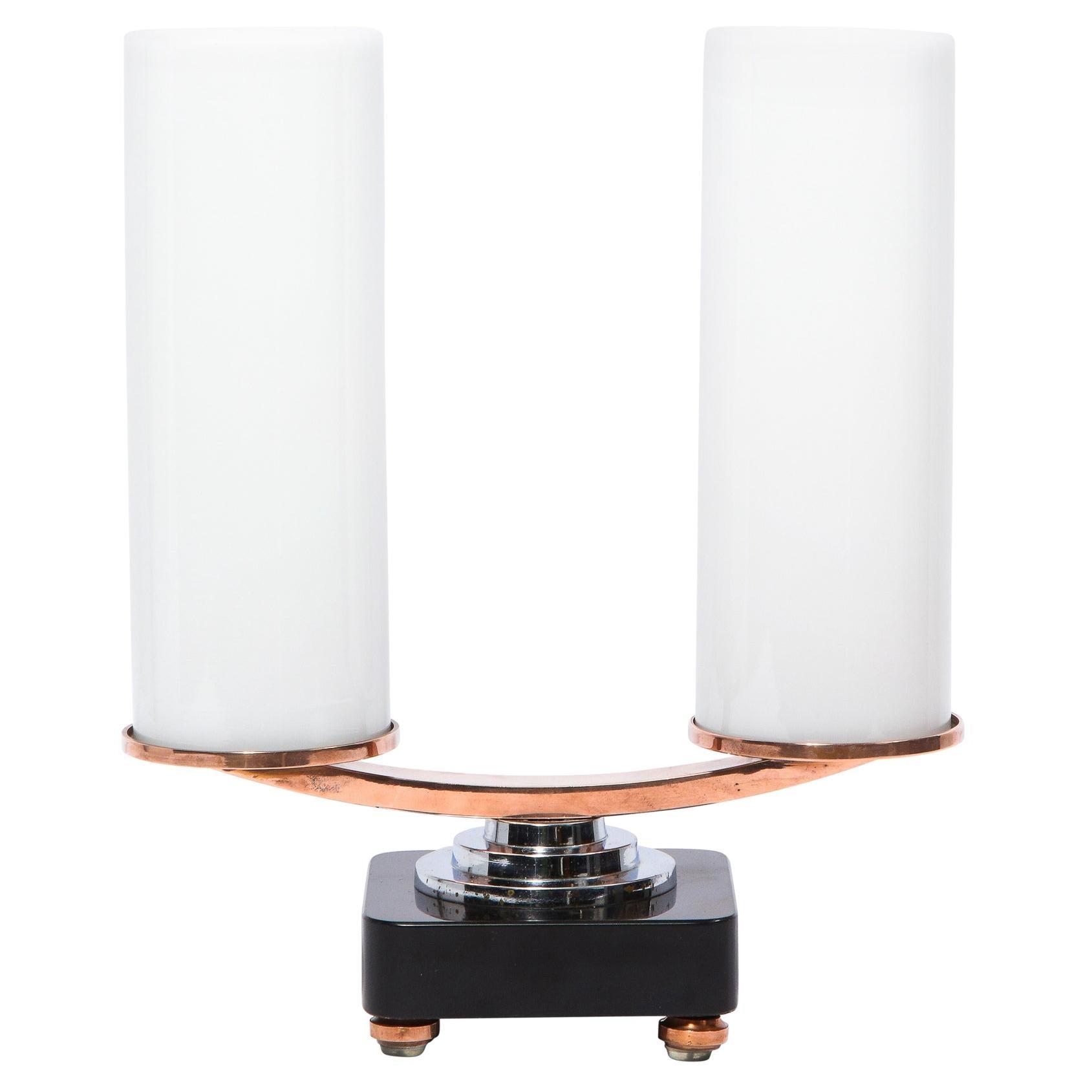 Art Deco Machine Age Skyscraper Style Chrome, Copper & Vitrolite Table Lamp