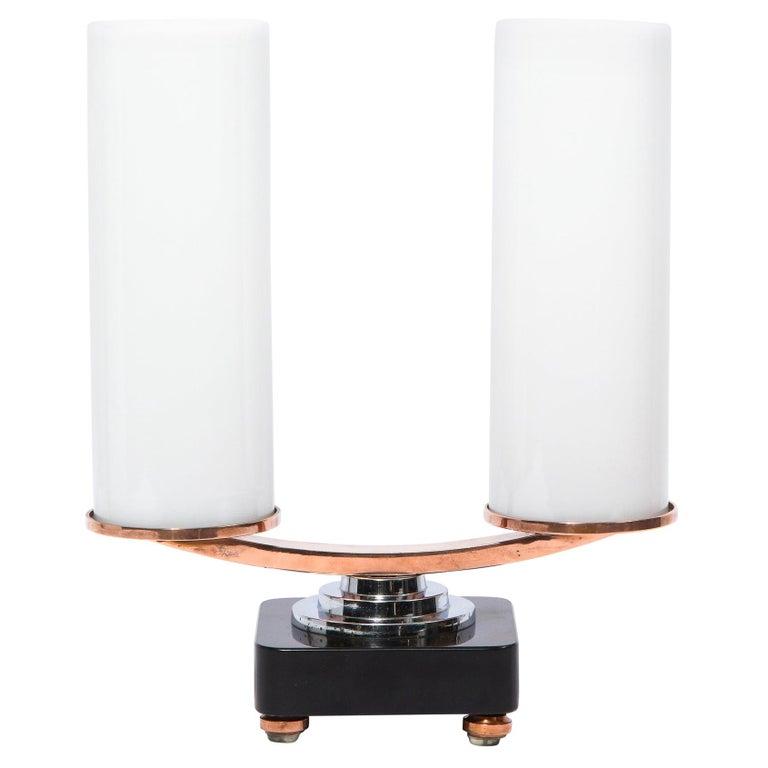 Art Deco Machine Age Skyscraper Style Chrome, Copper & Vitrolite Table Lamp For Sale
