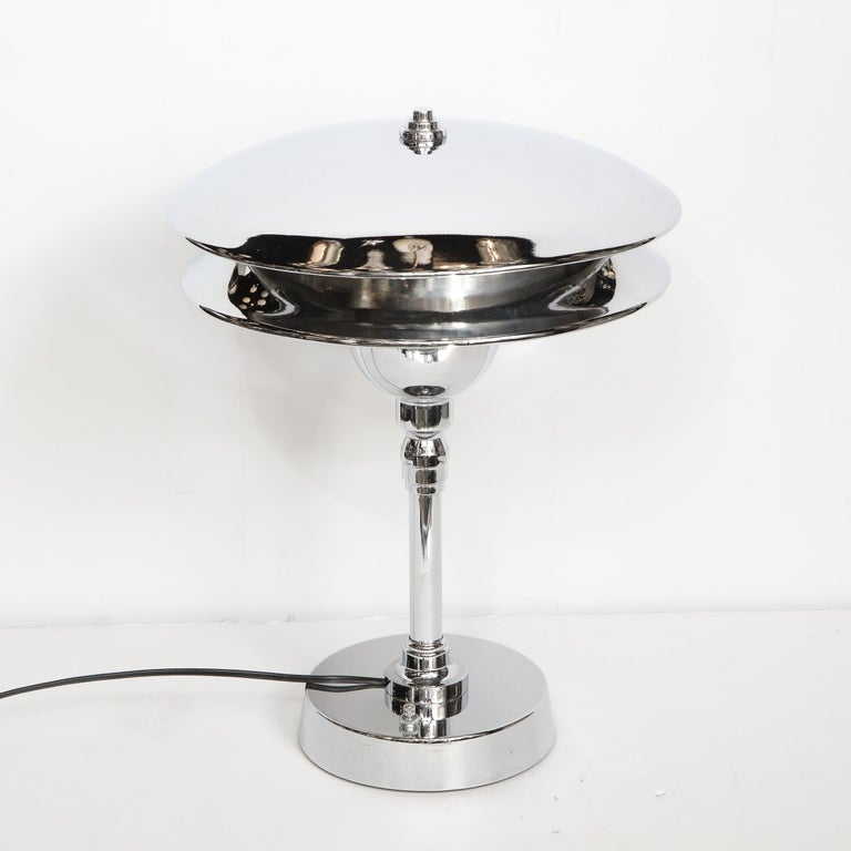 Mid-20th Century Art Deco Machine Age Skyscraper Style Polished Chrome Table Lamp For Sale
