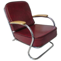 Art Deco / Machine Age Smaller Lounge Chair in the Style of Howell and Hoffmann