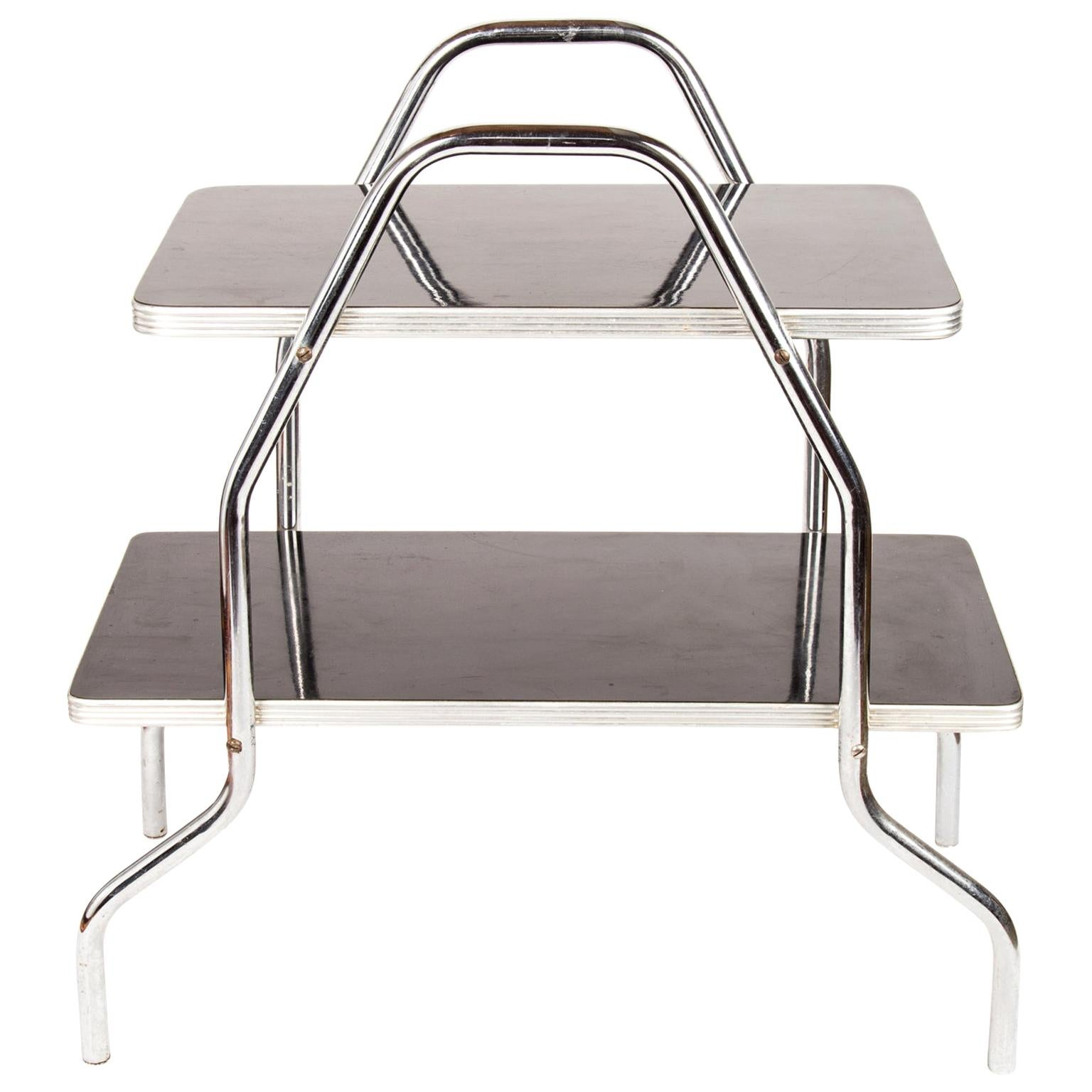 Art Deco Machine Age Streamline Chrome and Black Table after Wolfgang Hoffmann