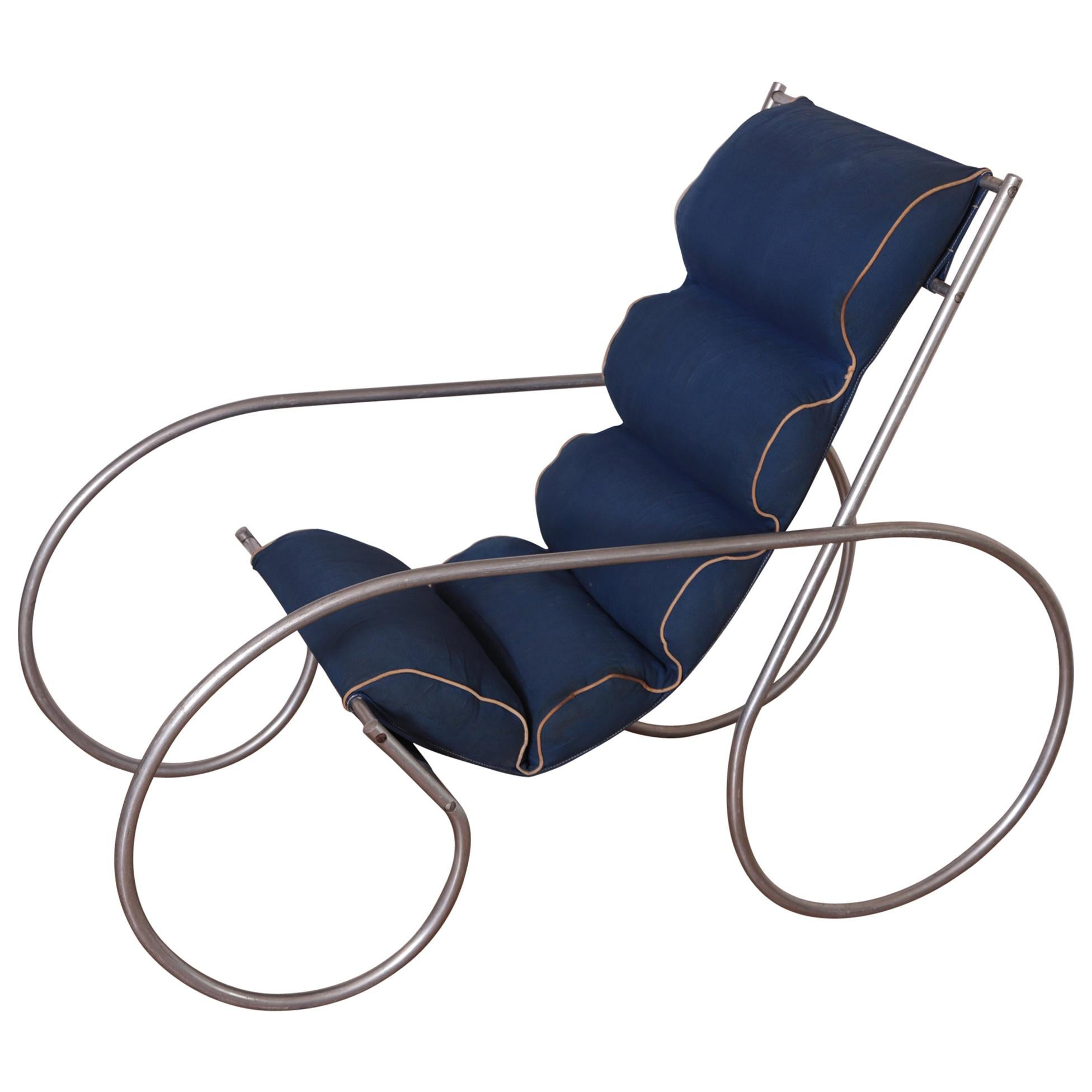 Art Deco Machine Age Streamline Indoor / Outdoor Tubular Aluminum Lounge Chair