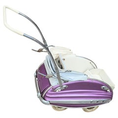 Art Deco Machine Age Streamline Metal Chrome Perambulator /Baby Stroller by Luxe