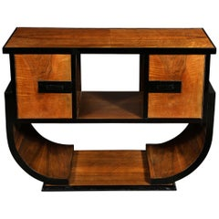 Art Deco Machine Age Streamlined Black Lacquer and Bookmatched Walnut Sideboard