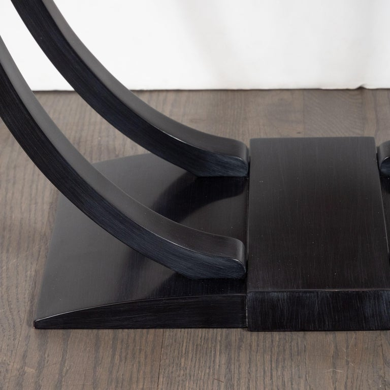 Art Deco Machine Age Streamlined Ebonized Walnut and Mirror Side/End Table In Distressed Condition For Sale In New York, NY