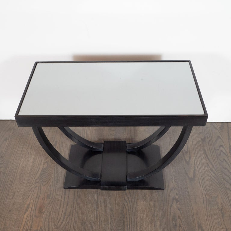 Mid-20th Century Art Deco Machine Age Streamlined Ebonized Walnut and Mirror Side/End Table For Sale
