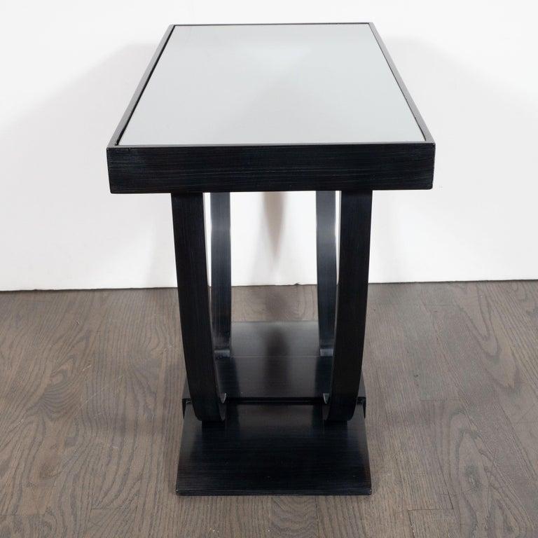 Art Deco Machine Age Streamlined Ebonized Walnut and Mirror Side/End Table For Sale 1