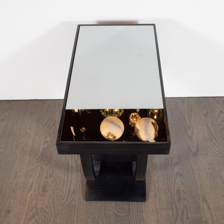 Art Deco Machine Age Streamlined Ebonized Walnut and Mirror Side/End Table For Sale 2