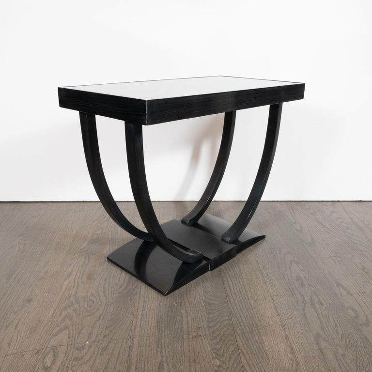 Art Deco Machine Age Streamlined Ebonized Walnut and Mirror Side/End Table For Sale 3