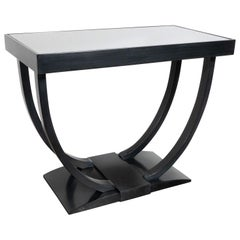 Art Deco Machine Age Streamlined Ebonized Walnut and Mirror Side/End Table