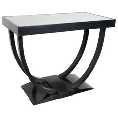 Art Deco Machine Age Streamlined Ebonized Walnut and Mirror Side/End Table