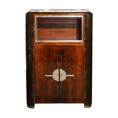Art Deco Machine Age Streamlined Mahogany and Macassar Cabinet with Nickel Pulls