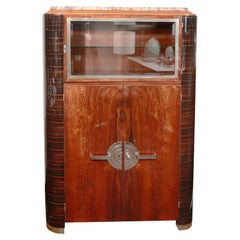 Art Deco Machine Age Streamlined Mahogany and Macassar Cabinet with Nickel Pulls