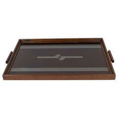 Art Deco Machine Age Streamlined Sterling Silver Glass Tray, Walnut Perimeter