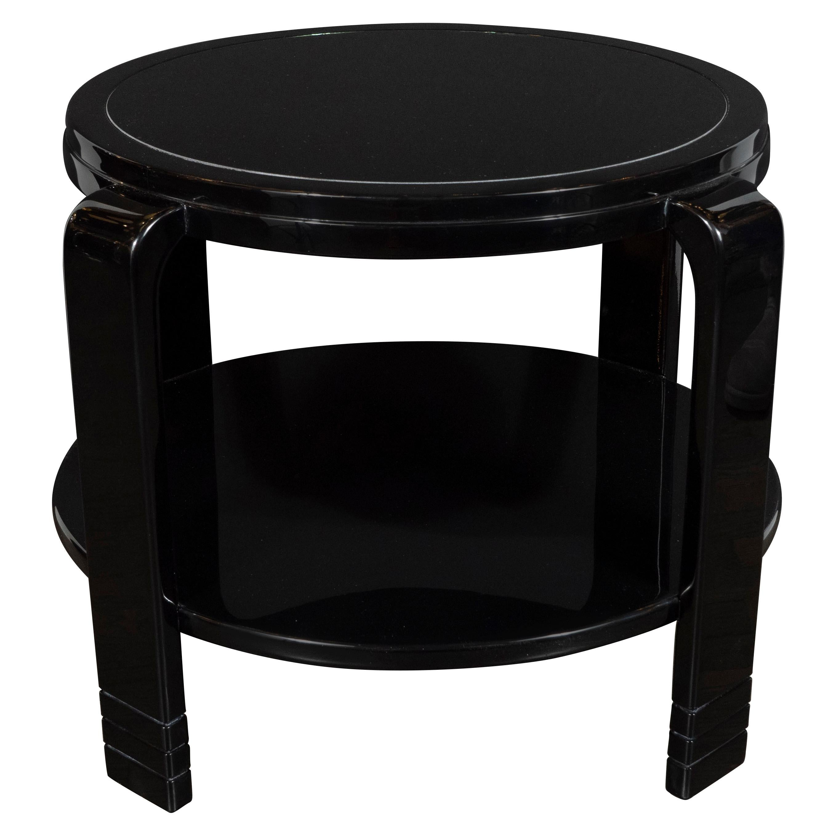 Art Deco Machine Age Streamlined Two-Tier Black Lacquer and Vitrolite Side Table