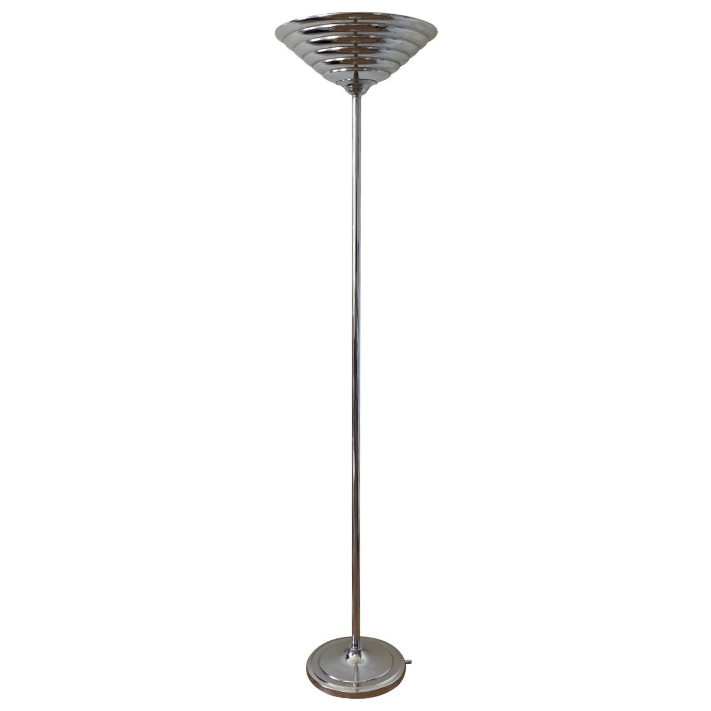 Art Deco, Machine Age Style, Floor lamp, Uplighter