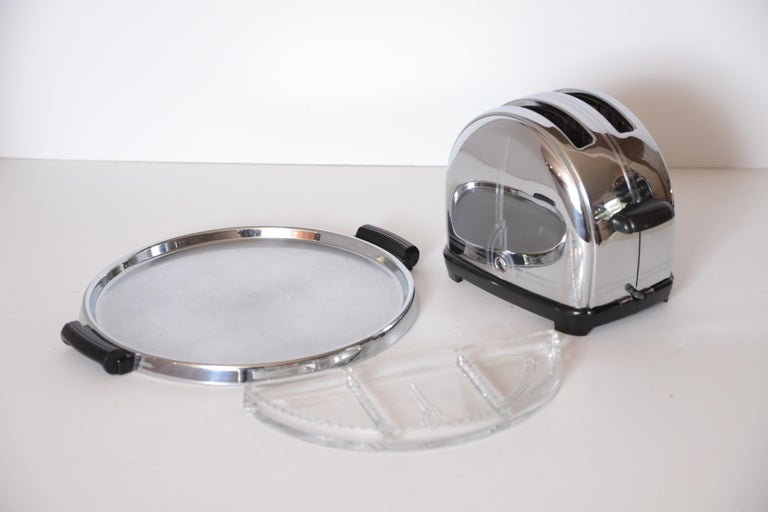 Art Deco Machine Age Sunbeam T-9 Toaster Iconic Patented Complete Breakfast Set For Sale 4