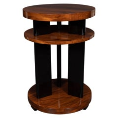 Art Deco Machine Age Three-Tier Bookmatched Walnut and Black Lacquer Side Table