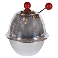 Machine Age Tureen with Skyscraper Style Lid and Orbital Cardinal Red Pulls