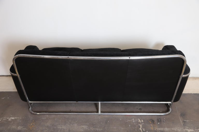 Art Deco Machine Age Wolfgang Hoffmann for Howell Iconic Three-Seat Sofa #360-3 For Sale 3