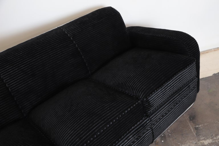 Art Deco Machine Age Wolfgang Hoffmann for Howell Iconic Three-Seat Sofa #360-3 For Sale 4