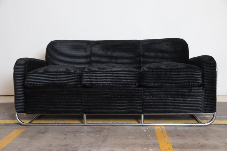 Art Deco Machine Age Wolfgang Hoffmann for Howell iconic three-seat sofa #360-3 Hoffman Hofman  Howell Modern Chromsteel Furniture #360-3 sofa, circa 1936 catalog. Reupholstered in cut velvet or mohair and black hide leather, with very good