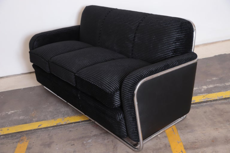 American Art Deco Machine Age Wolfgang Hoffmann for Howell Iconic Three-Seat Sofa #360-3 For Sale