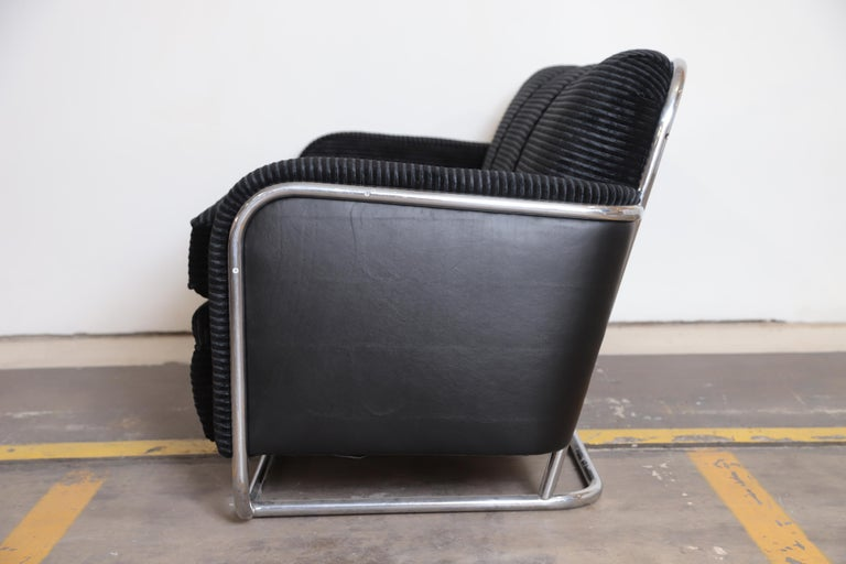 Art Deco Machine Age Wolfgang Hoffmann for Howell Iconic Three-Seat Sofa #360-3 In Good Condition For Sale In Dallas, TX