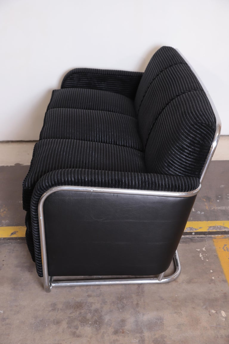 Mid-20th Century Art Deco Machine Age Wolfgang Hoffmann for Howell Iconic Three-Seat Sofa #360-3 For Sale