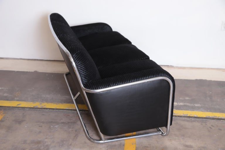 Steel Art Deco Machine Age Wolfgang Hoffmann for Howell Iconic Three-Seat Sofa #360-3 For Sale