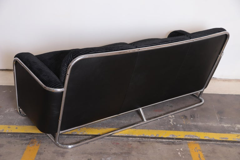 Art Deco Machine Age Wolfgang Hoffmann for Howell Iconic Three-Seat Sofa #360-3 For Sale 2