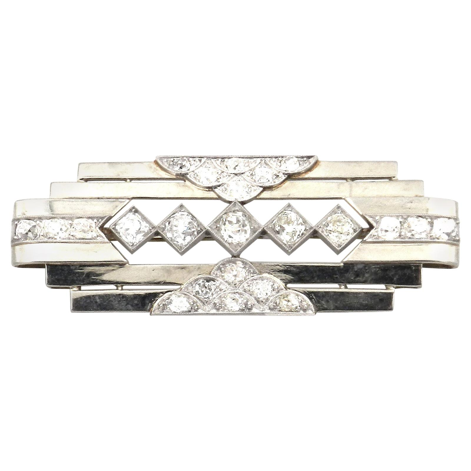 Art Deco Machine Style 2 Carat Diamond Brooch, Paris, circa 1930