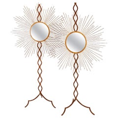 Art Deco Made of Brass Pair of French Mirrors