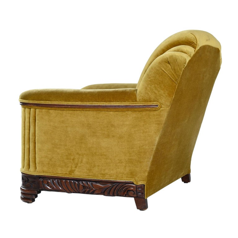 American Art Deco Mahogany Accent Bronze Gold Chartreuse Mohair Club Chair For Sale