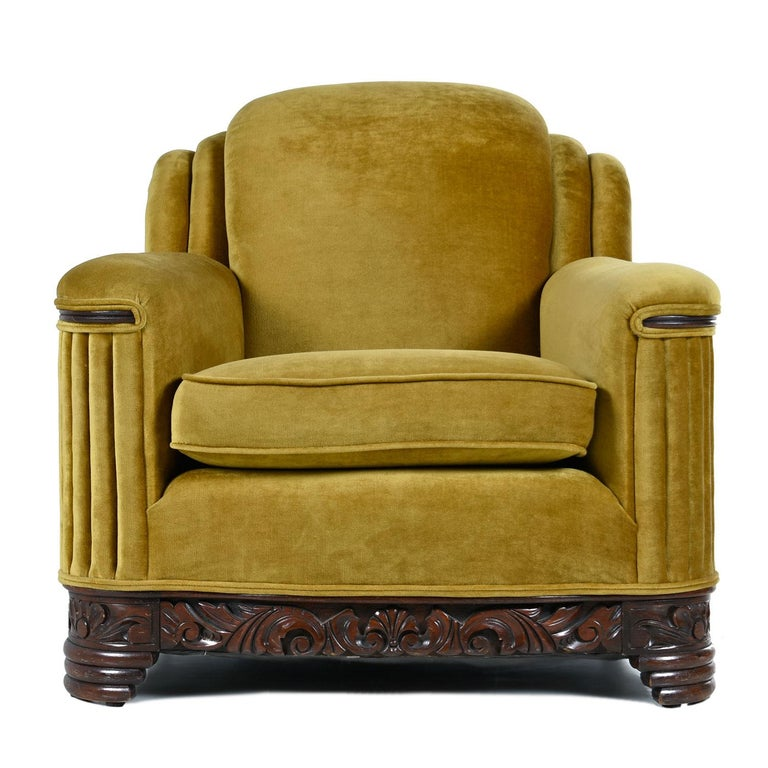 Art Deco Mahogany Accent Bronze Gold Chartreuse Mohair Club Chair In Excellent Condition For Sale In Saint Petersburg, FL